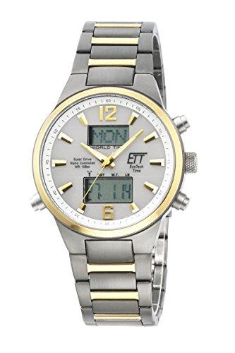 ETT Eco Tech Time Funk Solar Weltzeit Herren Uhr Chronograph mit Titan Armband EGT-11323-10M