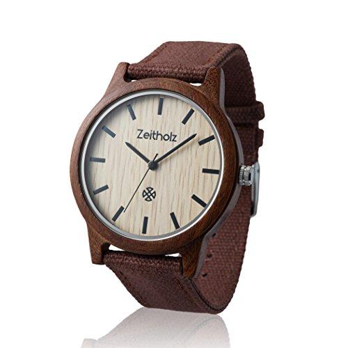 Zeitholz Unisex-Uhr analog Quartz-Uhrwerk mit braunem Canvas Armband Modell Reinsberg