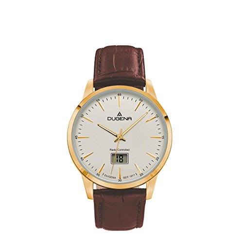 Dugena Herren Funk-Armbanduhr, Saphirglas, Lederarmband, Edelstahlgehäuse, Momentum, Gold/Braun, 4460860