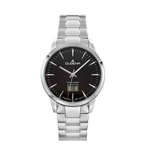 Dugena Herren Funk-Armbanduhr, Saphirglas, Edelstahl-Armband, Edelstahlgehäuse, Momentum, Silber/Schwarz, 4460857