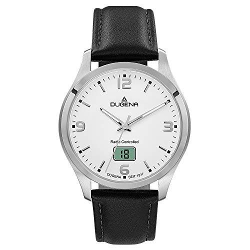 Dugena Herren Funk-Armbanduhr, Saphirglas, Lederarmband, Tresor Funk, Schwarz/Silber, 4460861