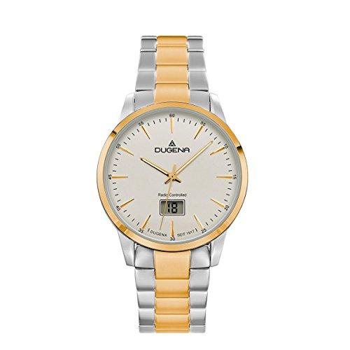 Dugena Herren Funk-Armbanduhr, Saphirglas, Edelstahl-Armband, Edelstahlgehäuse, Momentum, Silber/Gold, 4460858