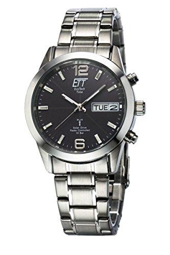 ETT Eco Tech Time Funk Solar Herren Uhr Analog mit Edelstahl Armband EGS-11247-22M