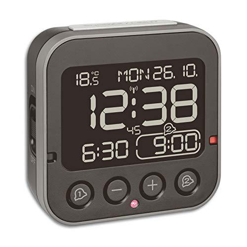 TFA Dostmann Bingo 2.0 digitaler Funk-Wecker, 60.2552.01, hohe Genauigkeit, Funkuhr, Temperaturanzeige, Datum
